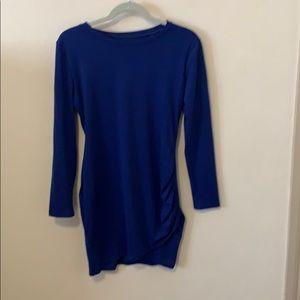 Dresses & Skirts - Blue Mini Dress - cute + flattering side ruching!